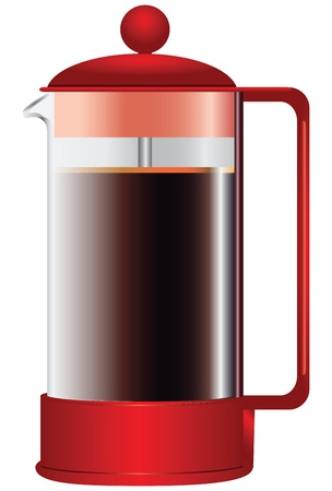 A teapot with a press for making coffee or tea leaves illustration. Stock Vector - 20305422