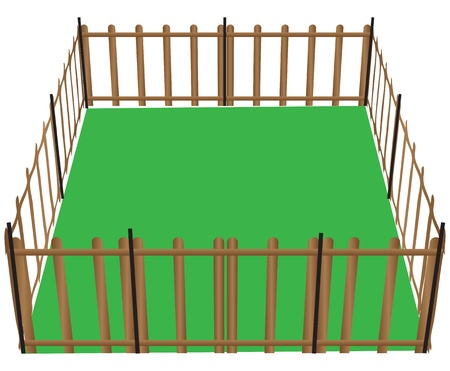 corral: Wooden fence for animals used in farming illustration. Illustration