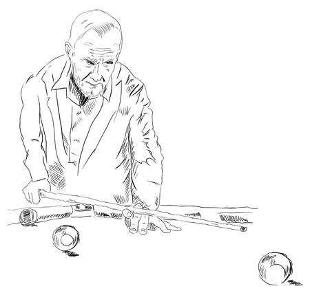 Man playing billiards preparing to strike illustration. Illusztráció