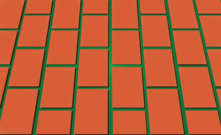 The road paved with bricks. Vector illustration.