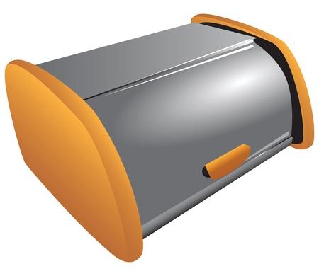 steel: Modern steel bread bin for storing bread bakery products illustration.