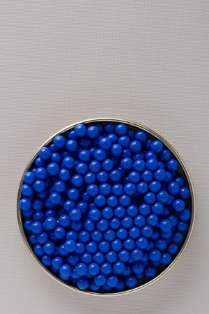 airgun: Close-up of many blue balls used for an airgun