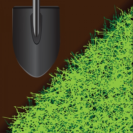 sward: Shovel for farming on the ground with grass illustration  Illustration