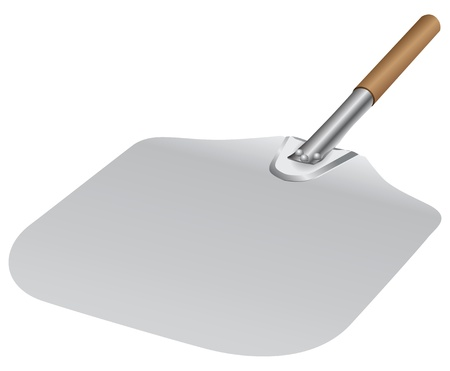 peel: Metal shovel with wooden handle for baking illustration