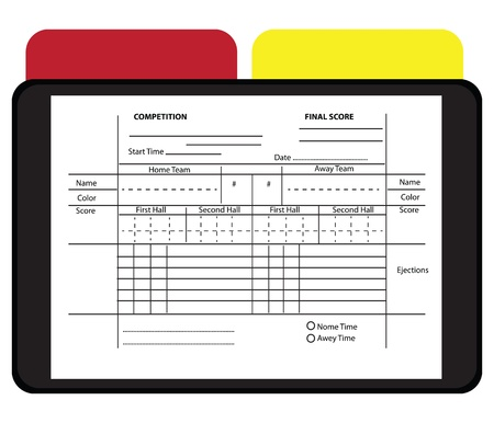 Soccer Referee Data Set with yellow and red cards illustration