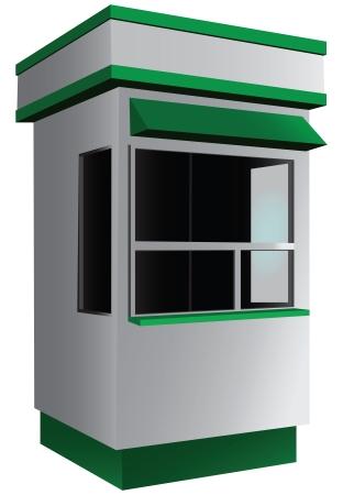 Verkoop kiosk voor kleine goederen, media en tickets. illustratie.