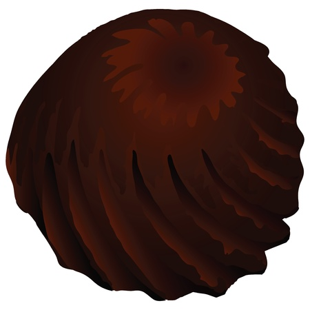 chocolate truffle: Truffle chocolate candy with a twisted spiral illustration.