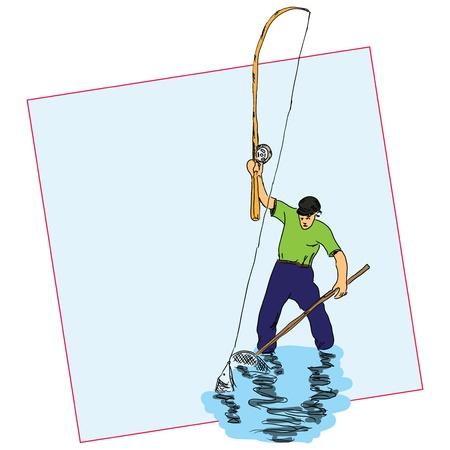 Fisherman angling for fish using a landing net illustration.