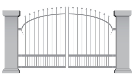 iron gate: Decorative steel gate with concrete pillars illustration. Illustration