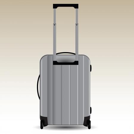 aluminum: Aluminum suitcase on wheels for travel illustration.
