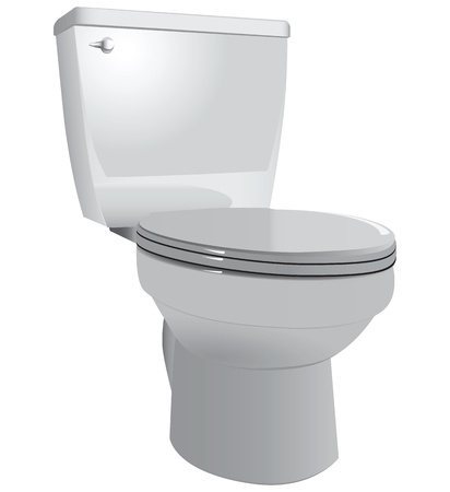 Toilet bowl to restroom with the lid down illustration. Иллюстрация