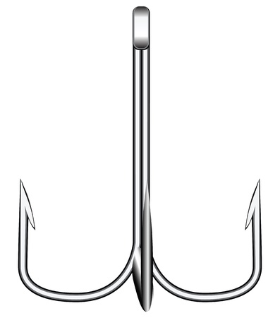 fishhook: Treble hook for fishing on predator illustration.