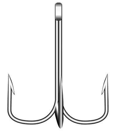 Treble hook for fishing on predator illustration. Stock Vector - 20410074