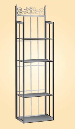 modern interior: Metal kitchen rack for storage of ingredients for the bakery illustration.