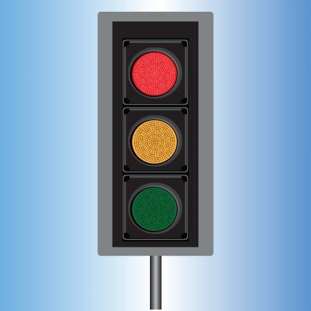 Stoplicht met drie lichten in de kleuren rood, geel en blauw illustratie.