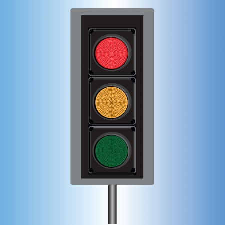 railroad crossing: Traffic light with three lights in red, yellow and blue illustration. Illustration