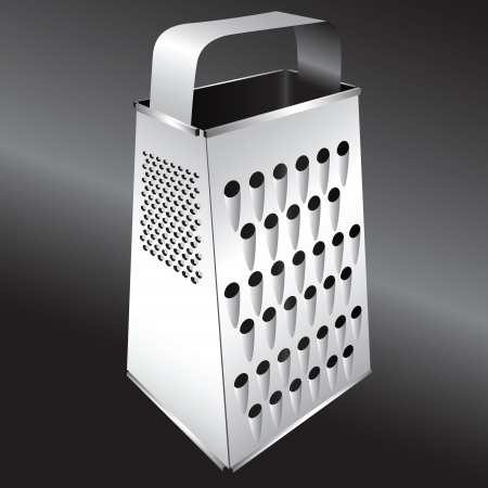 Steel kitchen grater for cooking food.