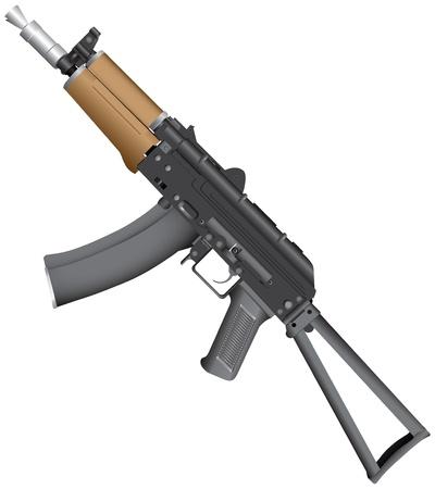 Automatic AK-74 with a folding butt.  Ilustração