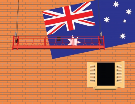 casement: Australia flag on the wall and an industrial elevator.