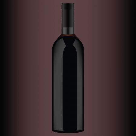 A bottle of red wine.  Vector