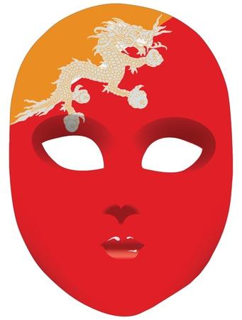 statehood: Classic mask with symbols of statehood of Bhutan.