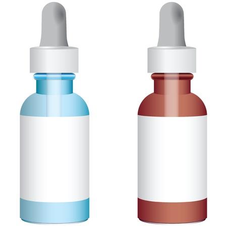 De blauwe en rode flessen met druppelaars.