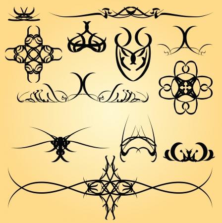 calligraphic design: Set of calligraphic symbols for design.
