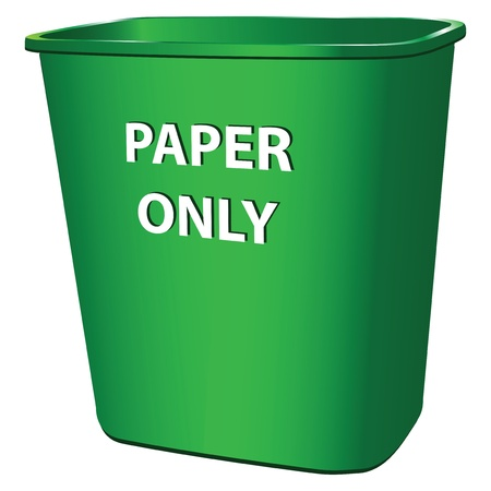 throwing paper: Plastic garbage container for paper.