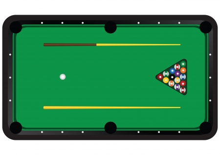 Billiard table with balls and cues. Vector illustration. Vector