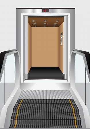 shopping center interior: Alternative to the elevator - escalator. Lifting and transportation sectors. Vector illustration.