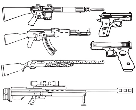 Automatic and semi-automatic fire-arms. A set of pistols and machine guns. Vector illustration. 矢量图像