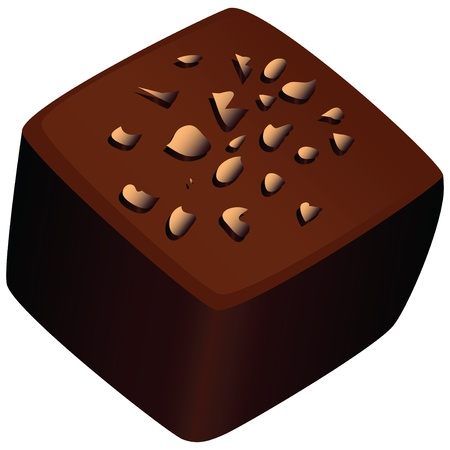 Chocolate candy with a nut crumb. Vector illustration.