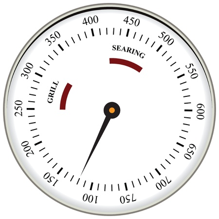 Thermometer used in cooking grill with the equipment. Vector illustration.