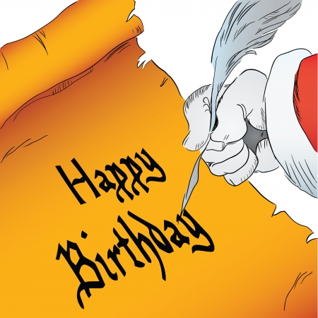 hand writing: Hand writing with a quill pen on parchment Happy Birthday. Vector drawing hand.