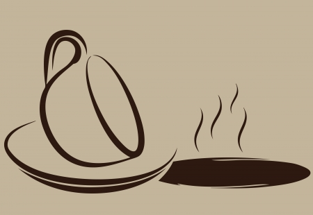 A puddle of coffee and an inverted cup. Vector illustration.