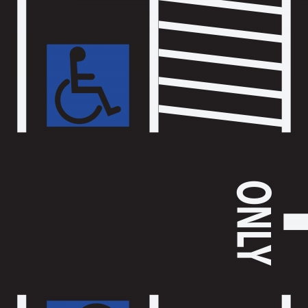 designated: Parking space for the disabled. Vector illustration.