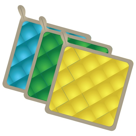 Pot-holder. A set of three heat-resistant pads for the kitchen. Vector illustration. Stock Vector - 20746867