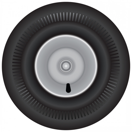 Rubber wheel for wheelbarrow without a protector. Vector illustration.