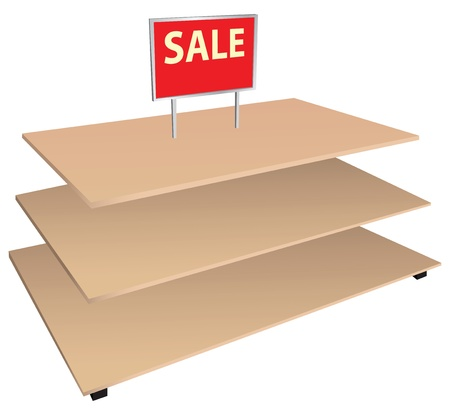 Winkel planken met een bord te koop. Vector illustratie, Stock Illustratie