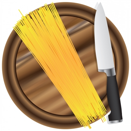 Spaghetti on a chopping board with a kitchen knife. Vector illustration. Illustration