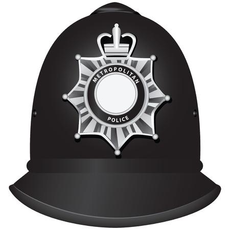 A traditional authentic helmet of metropolitan British police officers. Vector illustration. Illustration