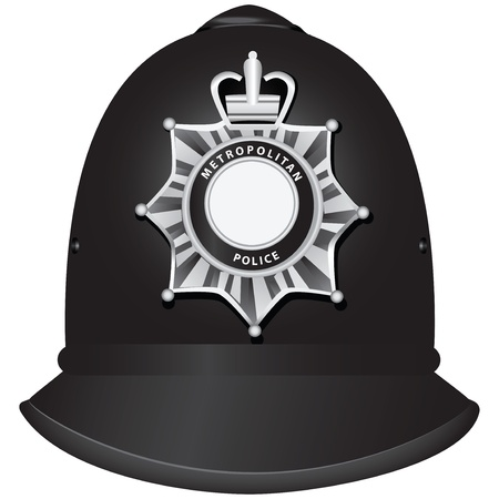 A traditional authentic helmet of metropolitan British police officers. Vector illustration. Vettoriali