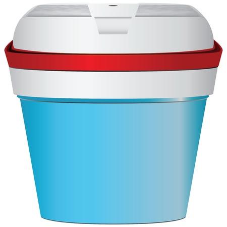 refrigerate: Azul peque�a nevera port�til para viajar en el coche aisladas sobre fondo blanco. Ilustraci�n del vector.