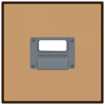 Close up of a blank, white label in label holder on filing cabinet drawer. Vector illustration. Ilustracja