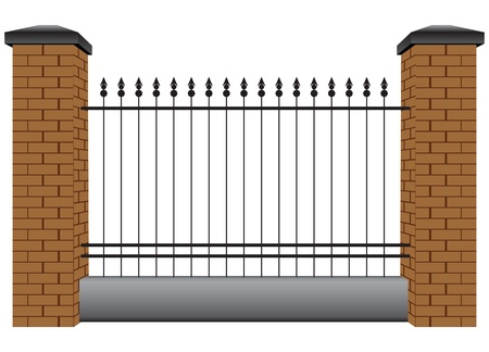 metal grid: Section of the fence with steel rods and pillars of brick. Vector illustration. Illustration