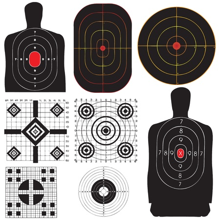 gun fire: A professional set targets for training. Vector illustration.
