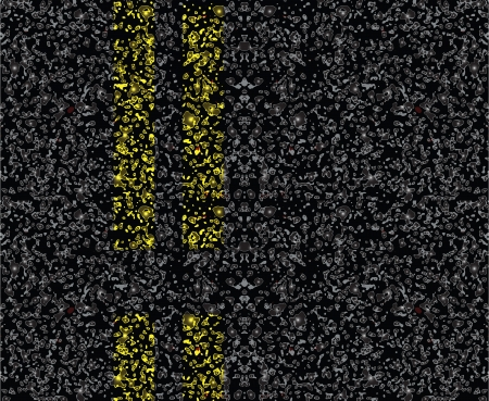 Road markings on the pavement. Yellow dashed line. Vector illustration. Stock Illustratie