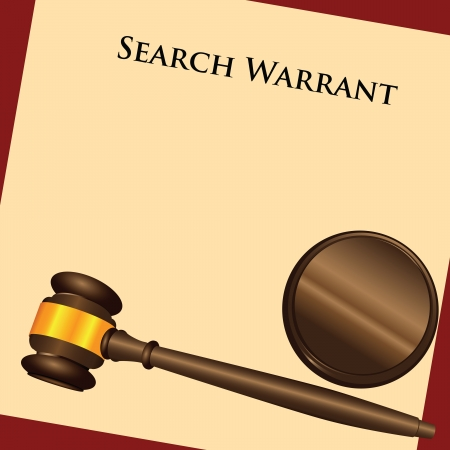 warrant: The law enforcement system - a search warrant - a court order. Vector illustration.