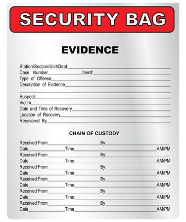 csi: La bolsa de pl�stico para la recogida y almacenamiento de datos. Ilustraci�n del vector.