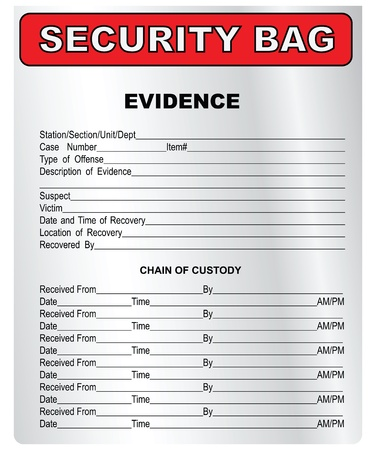 evidence bag: Plastic bag for the collection and storage of evidence. Vector illustration.